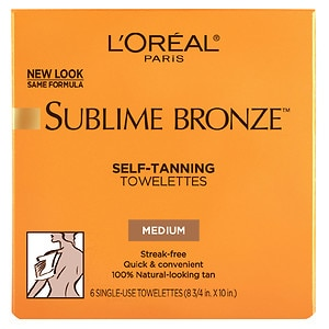 L'Oreal Sublime Bronze Self-Tanning, Towelettes, Medium - 6 ea