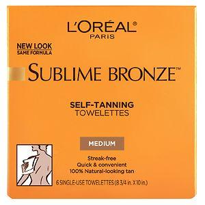 L'Oreal Sublime Bronze Self-Tanning, Towelettes, Medium - 6 ea
